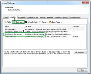 Data file tab